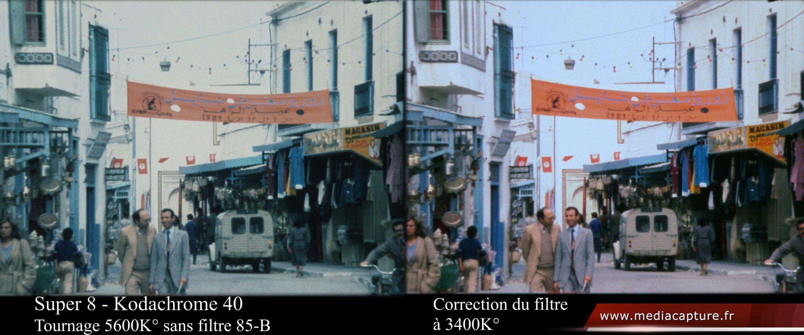 Super 8 - Tunisie 1983 Pâques - Correction de l'absence du filtre 85B - Comparatif-UHD vignette